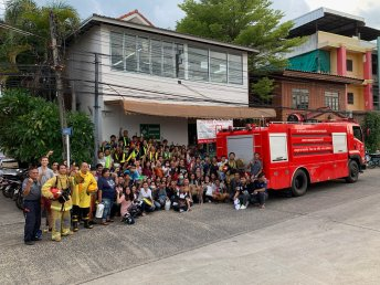 The factory and workers in Thailand after a fire drill!
